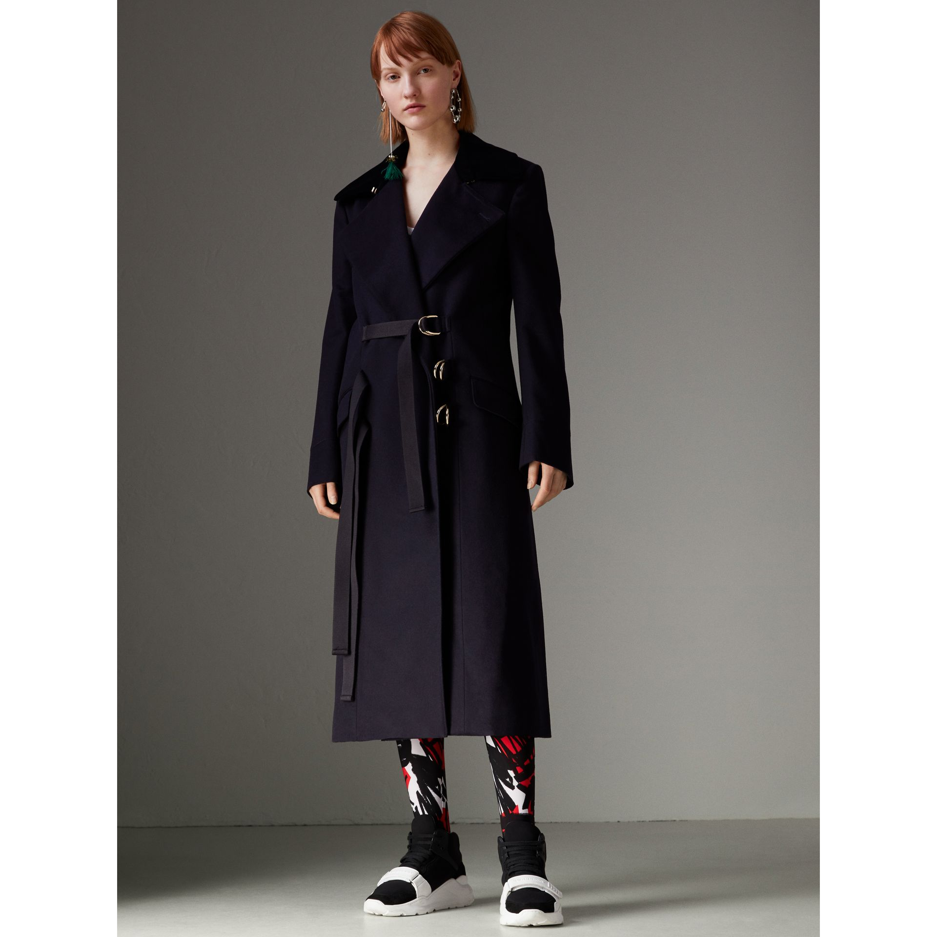 D-ring Detail Doeskin Wool Coat in Dark Navy - Women | Burberry - gallery image 5