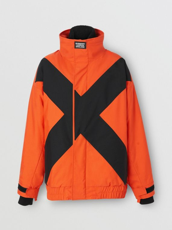 Panelled Nylon Track Jacket with Detachable Warmer in Bright Orange