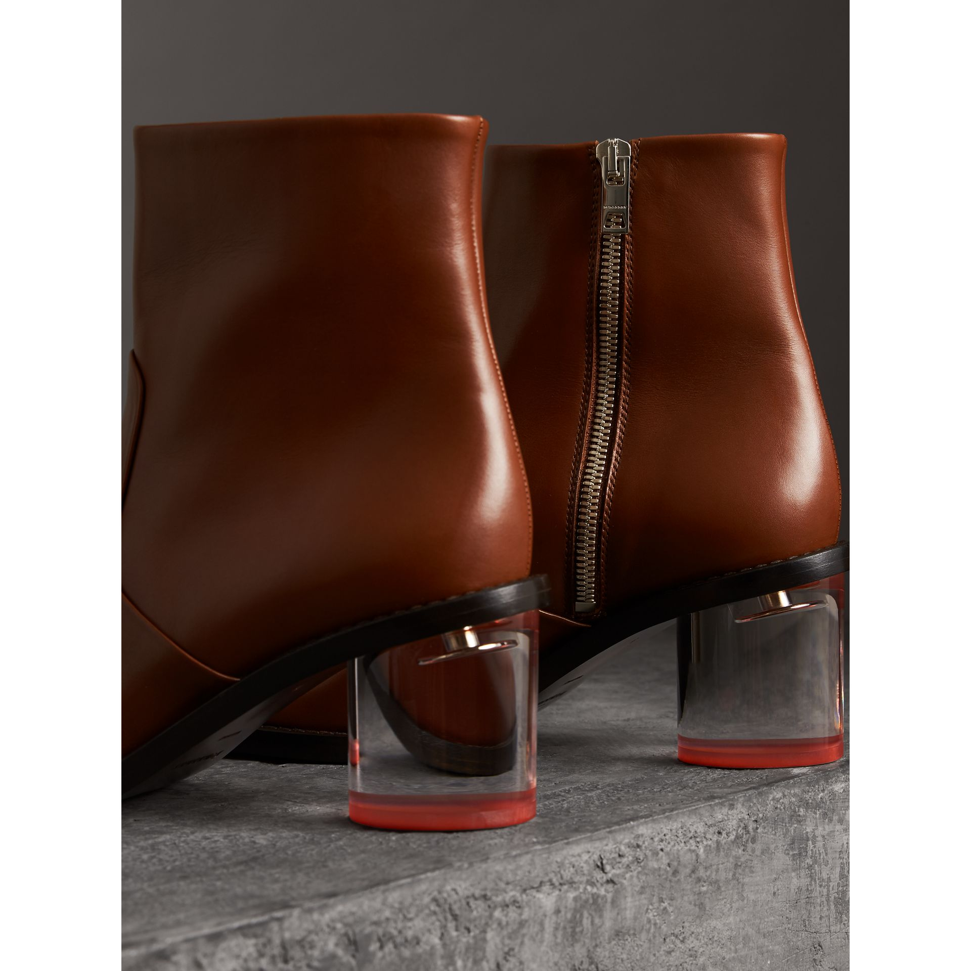 Two-tone Leather Block-heel Boots in Cognac - Women | Burberry - gallery image 3