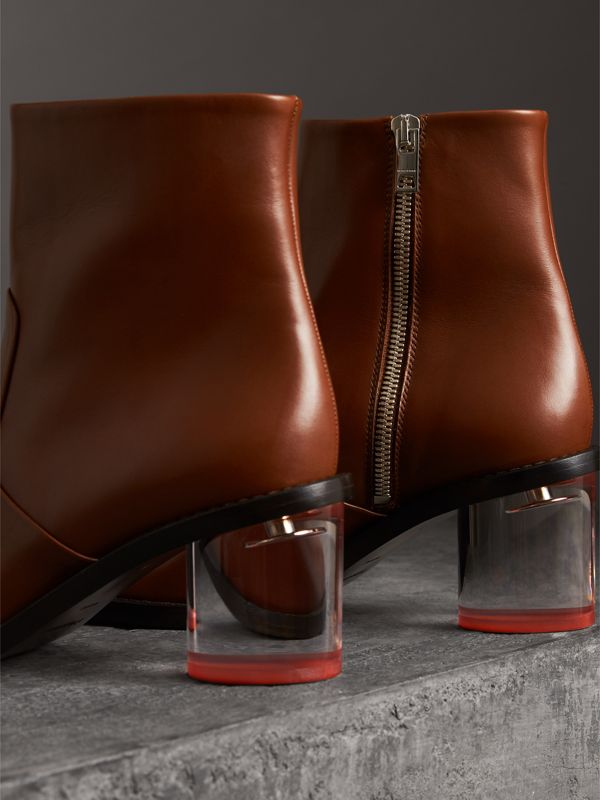 Two-tone Leather Block-heel Boots in Cognac - Women | Burberry - cell image 3