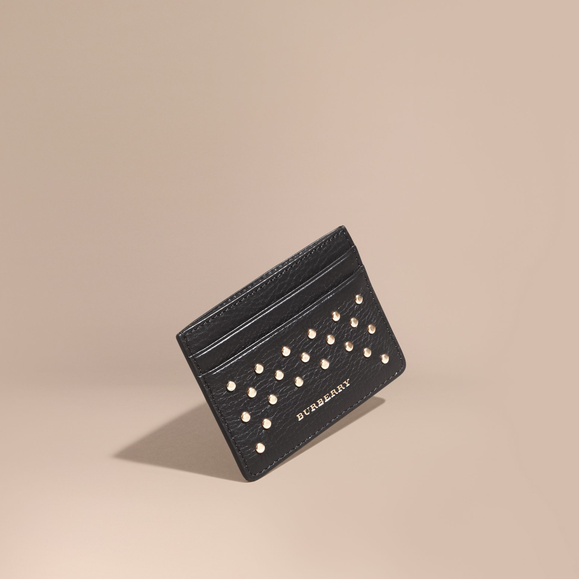 Black Studded Leather Card Case - gallery image 1