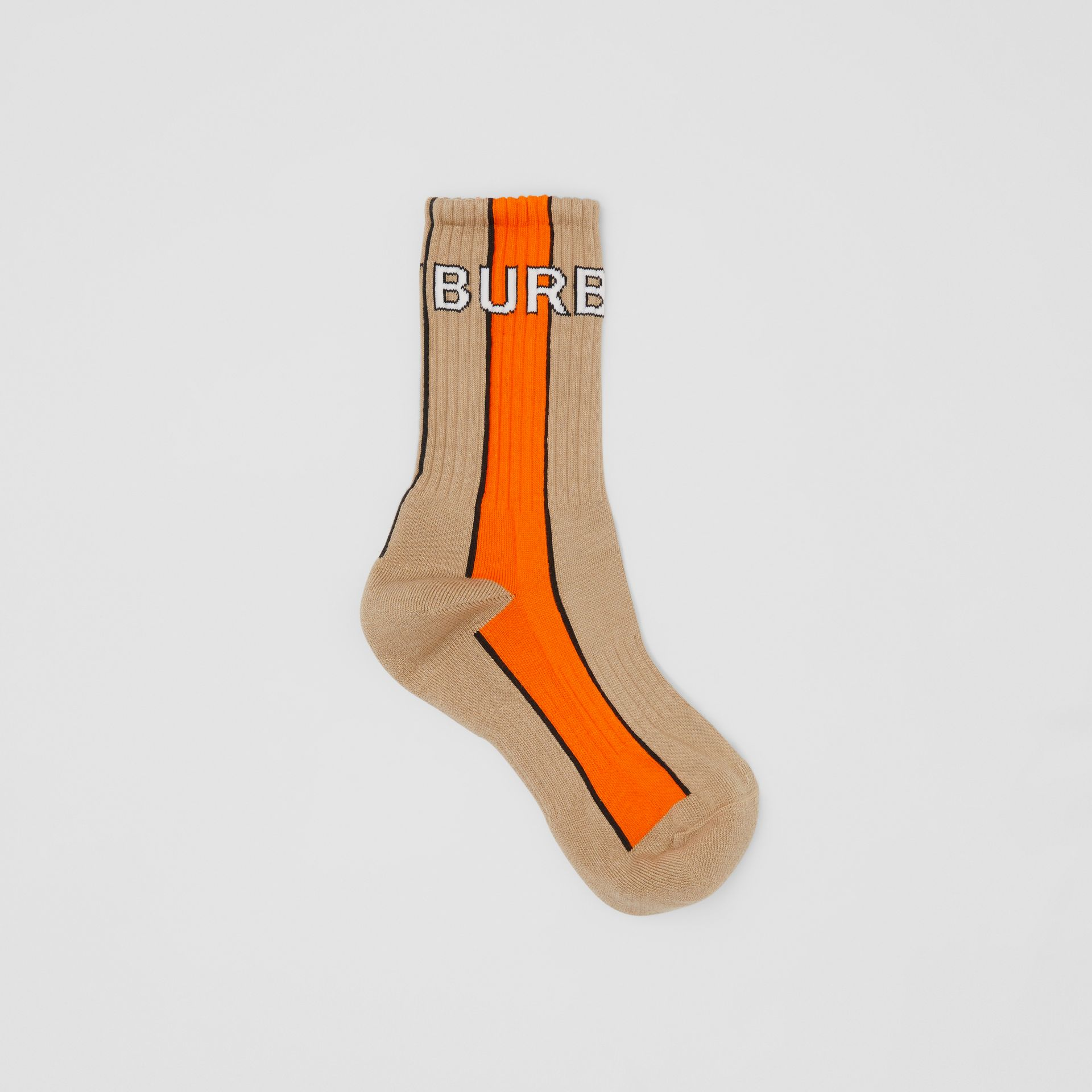 Logo Intarsia Striped Cotton Blend Socks in Soft Fawn | Burberry Canada - gallery image 0