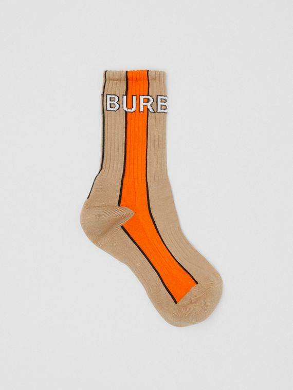 Logo Intarsia Striped Cotton Blend Socks in Soft Fawn