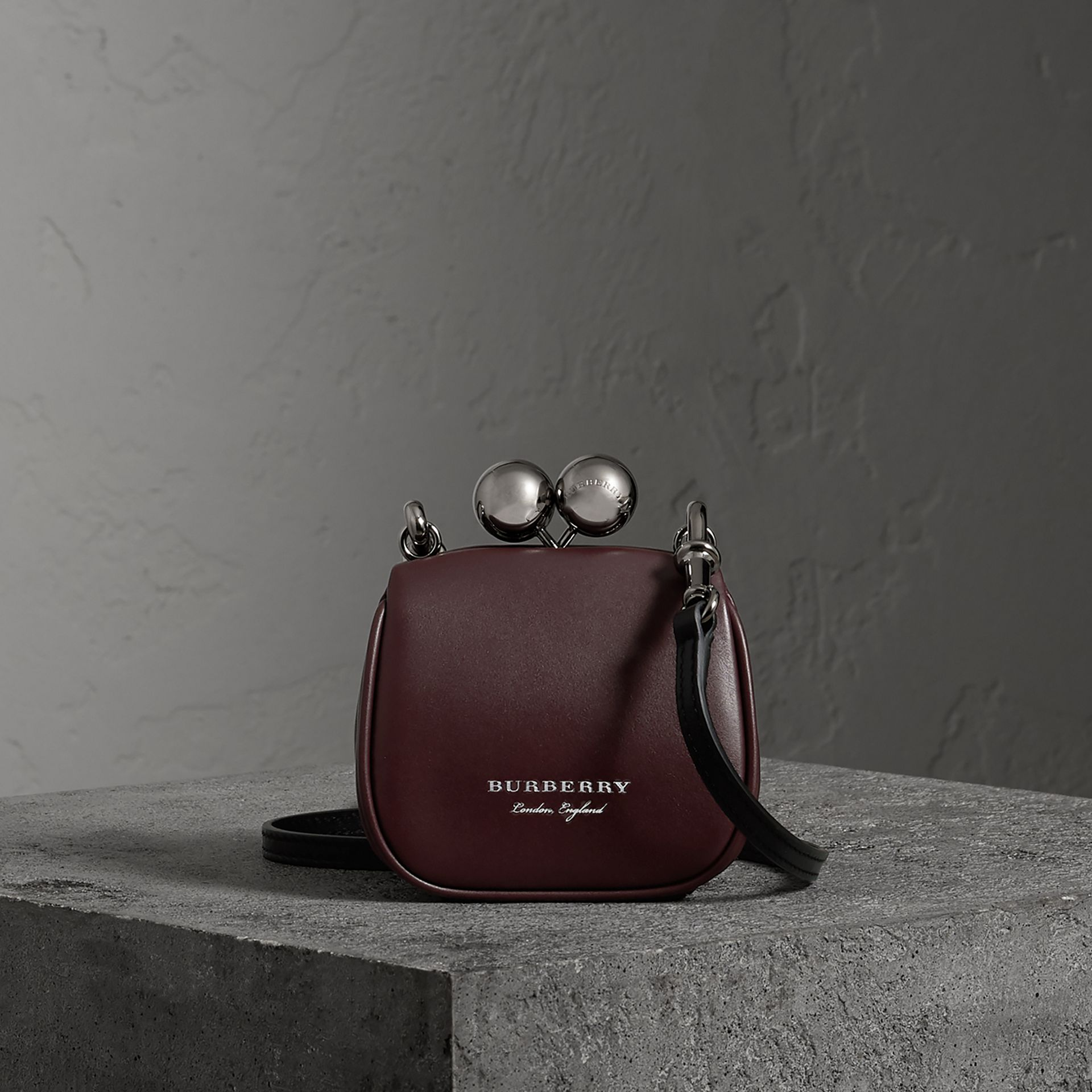 Mini Two-tone Leather Frame Bag in Burgundy - Women | Burberry United Kingdom - gallery image 0
