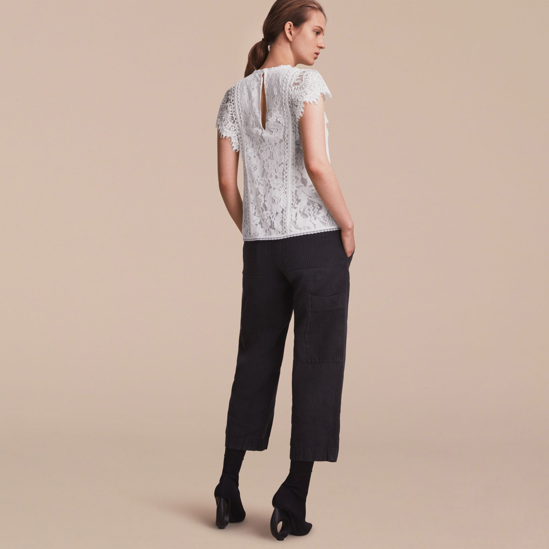 Scalloped Cap Sleeve Floral Lace Top - gallery image 3