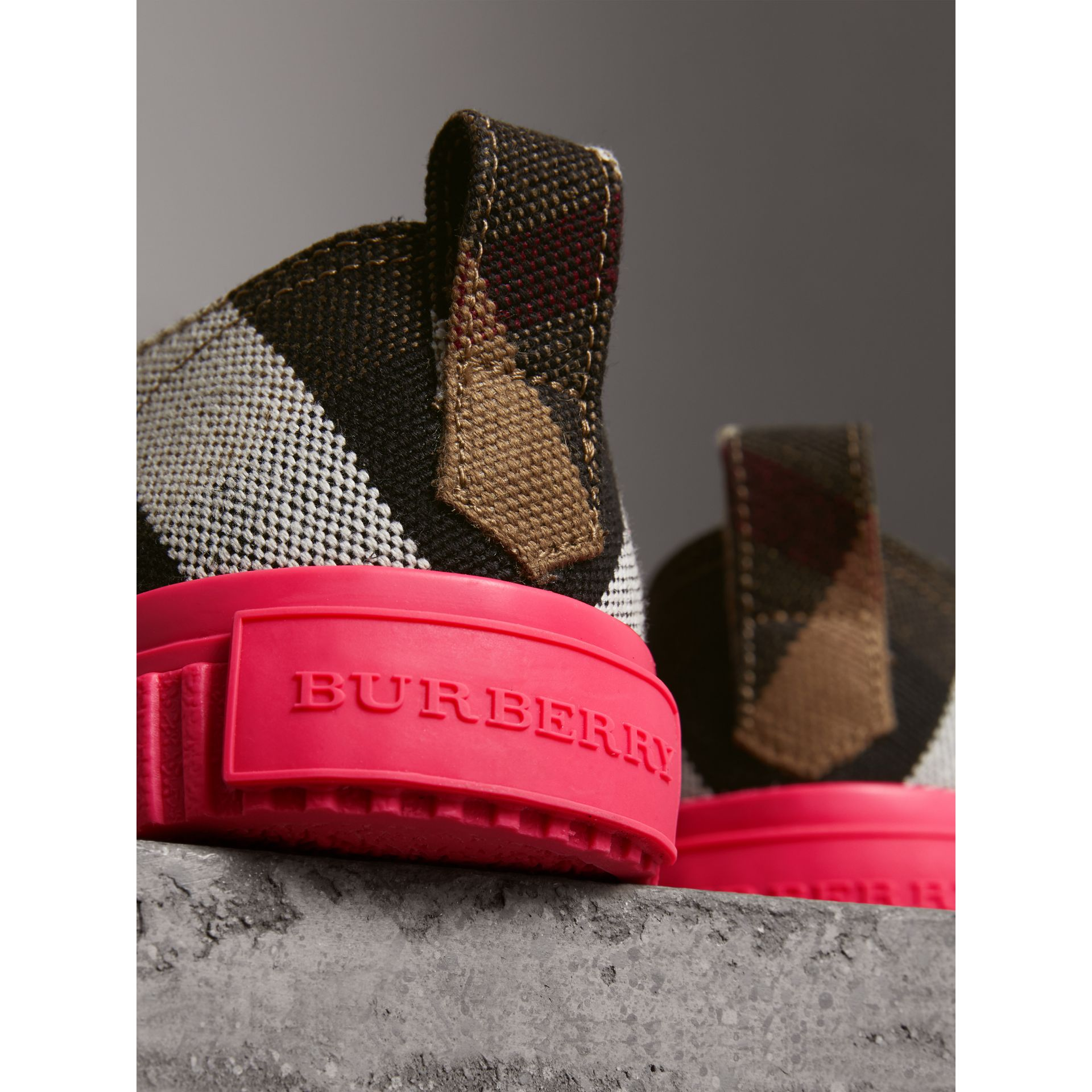 Canvas Check and Leather Trainers in Classic - Women | Burberry - gallery image 1