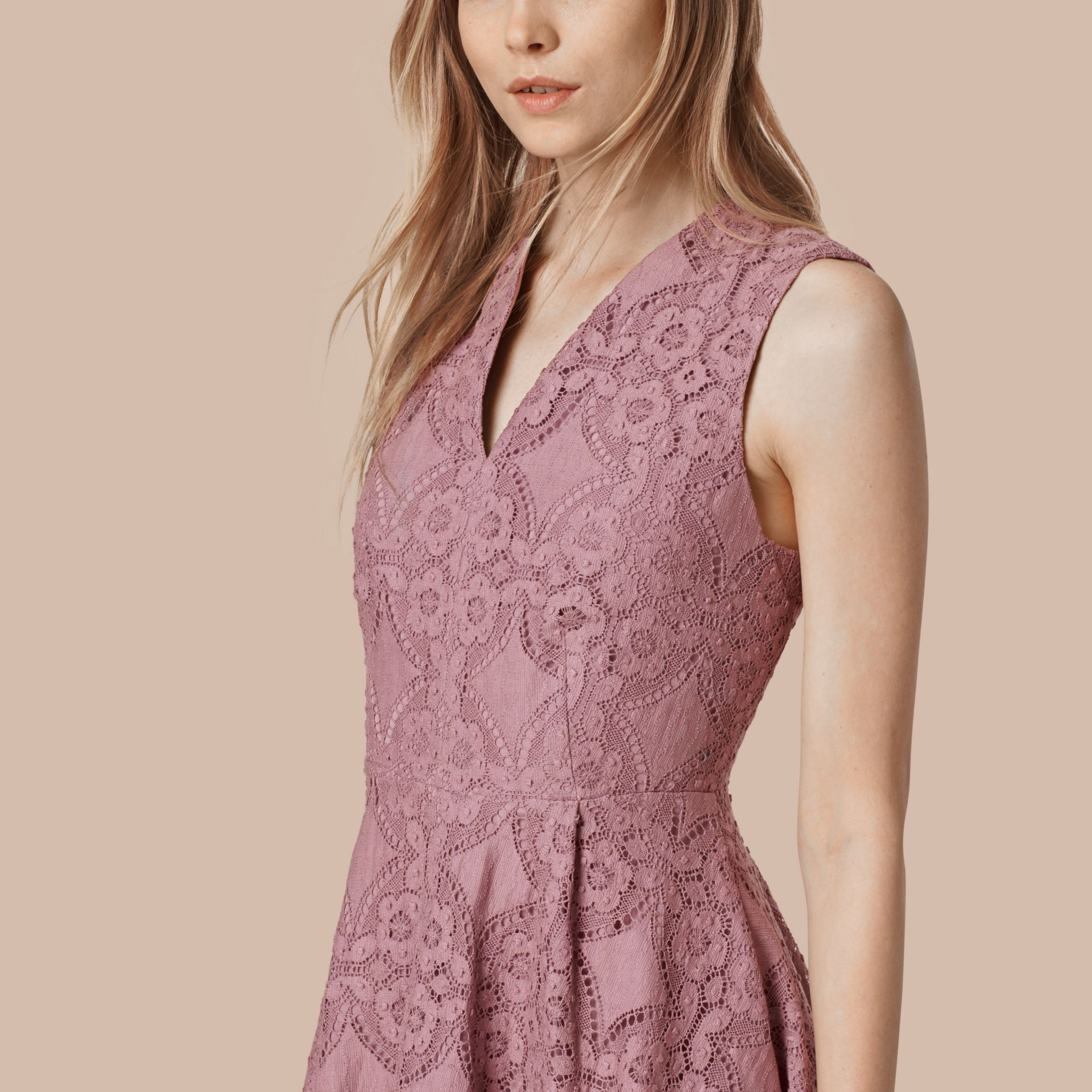 Pale mauve English Lace A-line Sleeveless Dress - gallery image 3