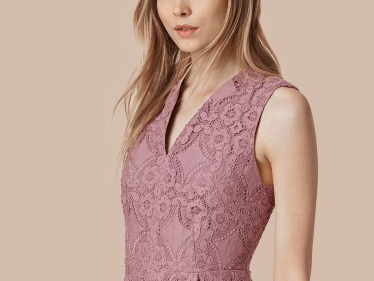 Pale mauve English Lace A-line Sleeveless Dress - cell image 2
