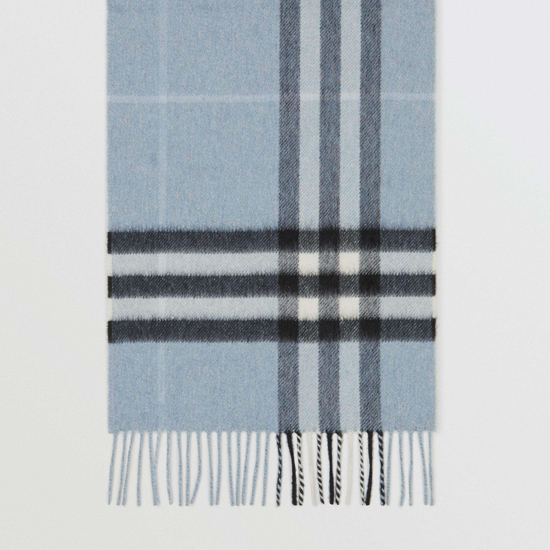 The Classic Check Cashmere Scarf in Dusty Blue | Burberry Australia - gallery image 4