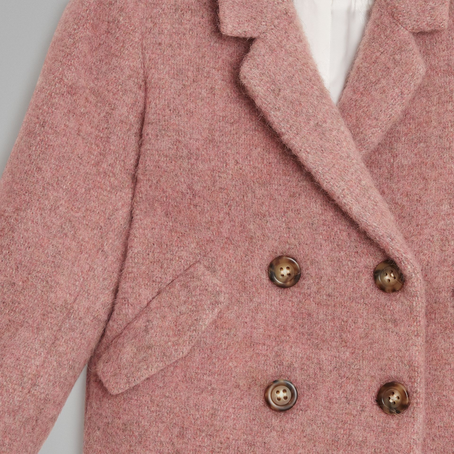 Wool Alpaca Blend Tailored Coat in Rose Pink Melange | Burberry - gallery image 4