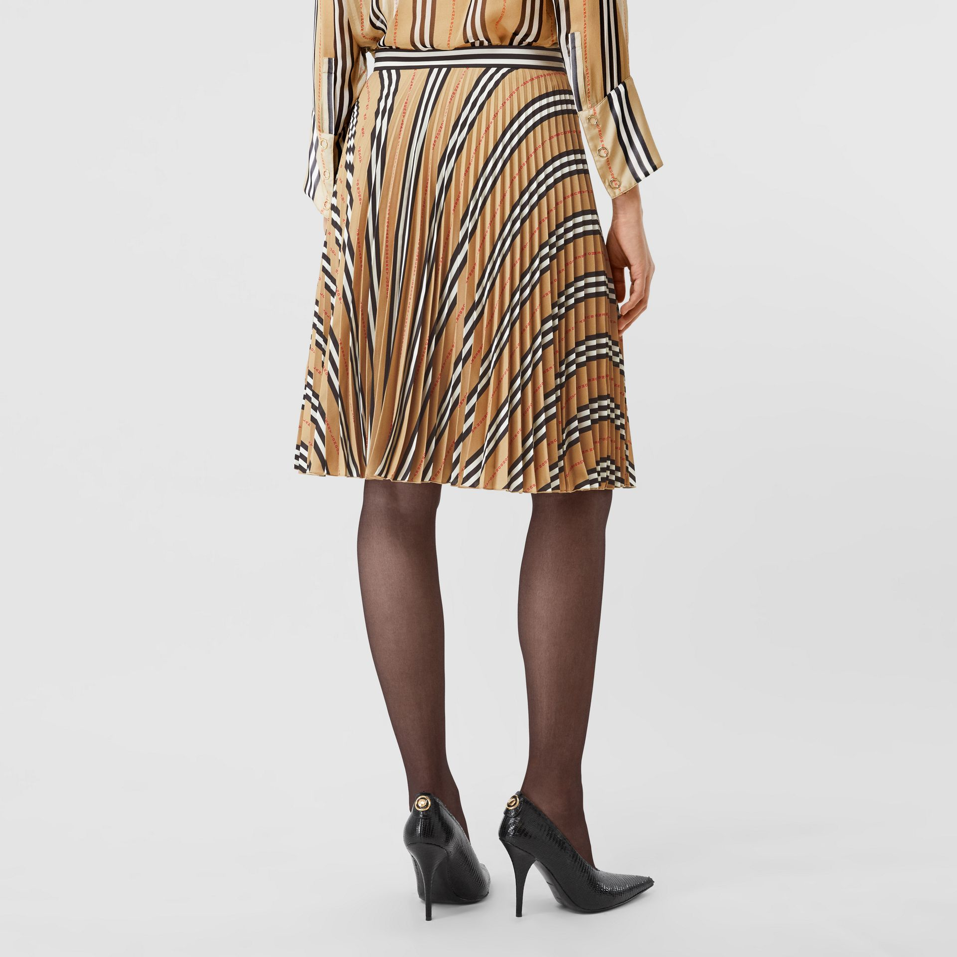 Logo and Stripe Print Crepe Pleated Skirt in Archive Beige - Women | Burberry Canada - gallery image 2