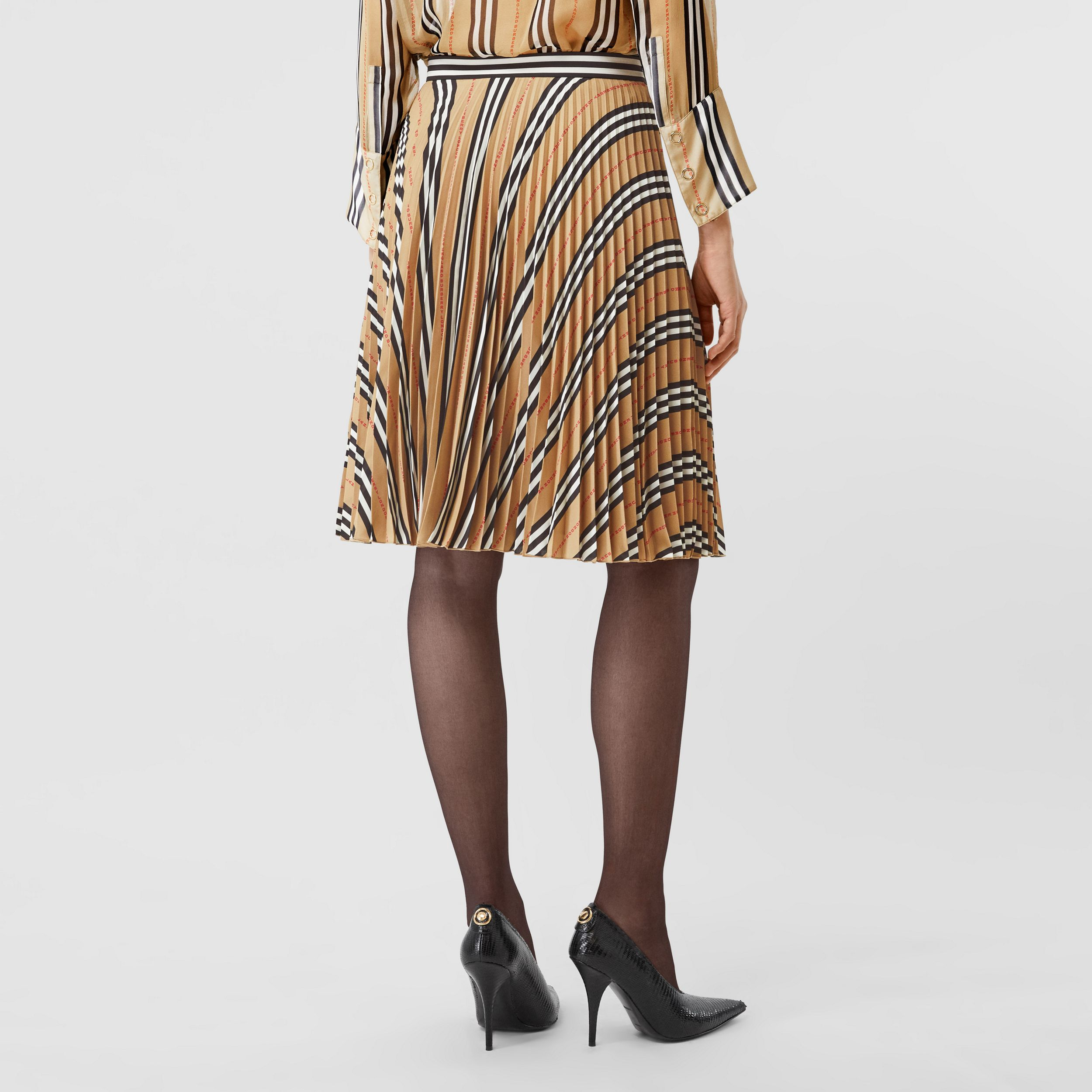 Logo and Stripe Print Crepe Pleated Skirt in Archive Beige - Women | Burberry United States - 3