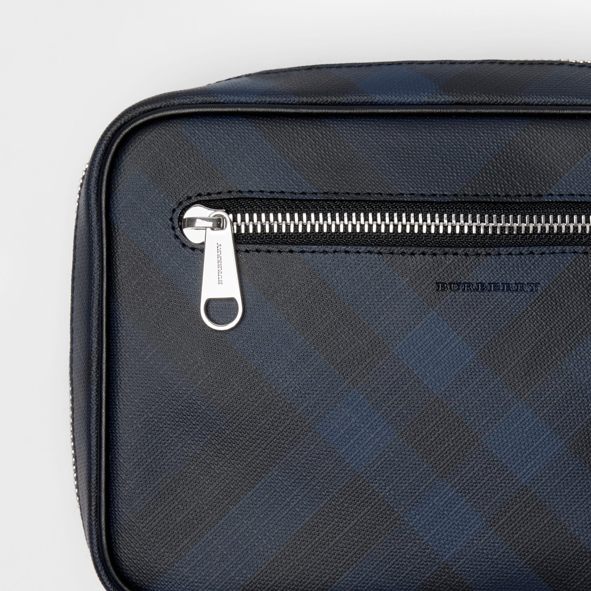 London Check Travel Pouch in Navy/black - Men | Burberry Australia - gallery image 1
