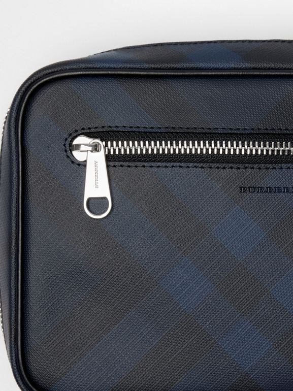 London Check Travel Pouch in Navy/black - Men | Burberry - cell image 1