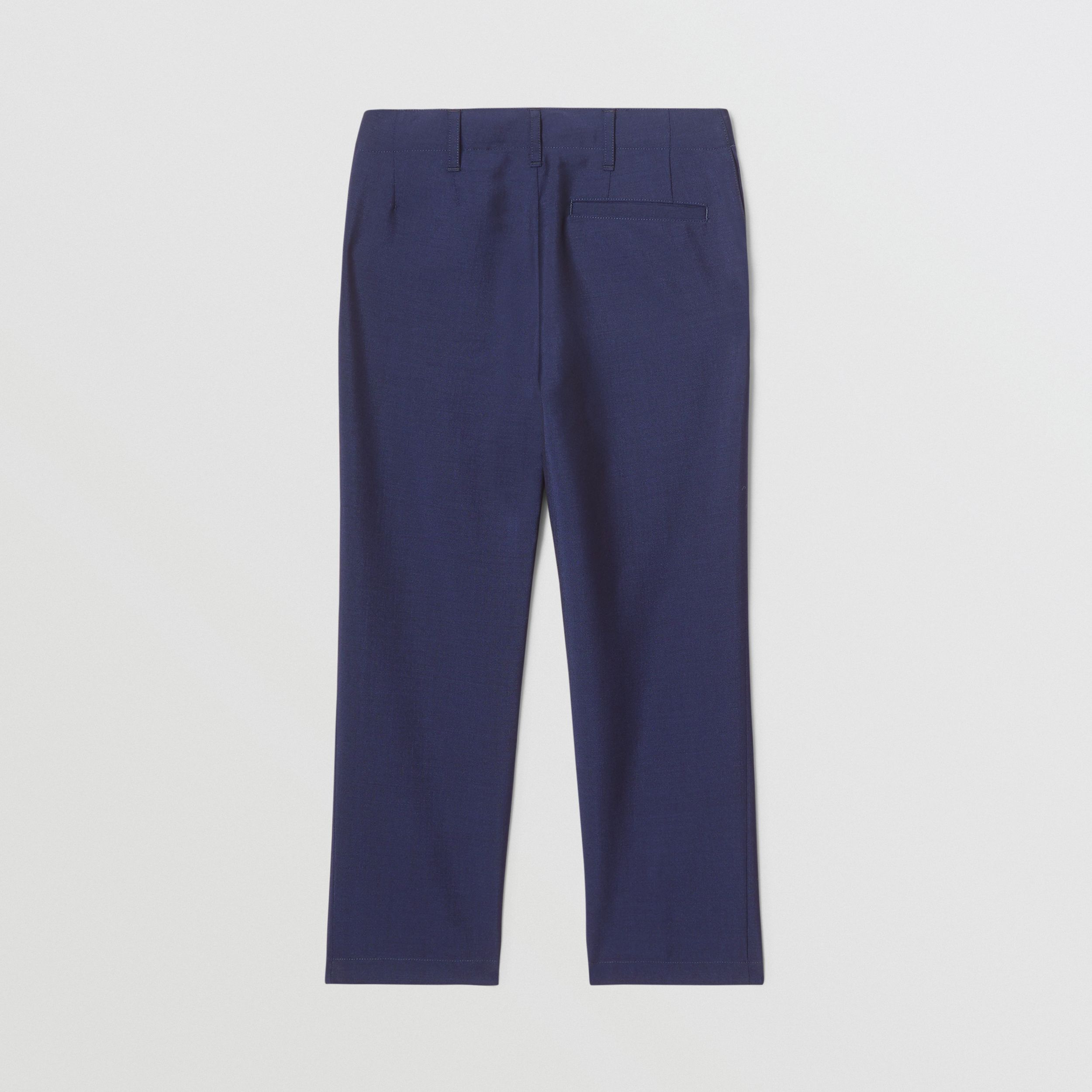 Wool Mohair Tailored Trousers in Navy | Burberry - 3