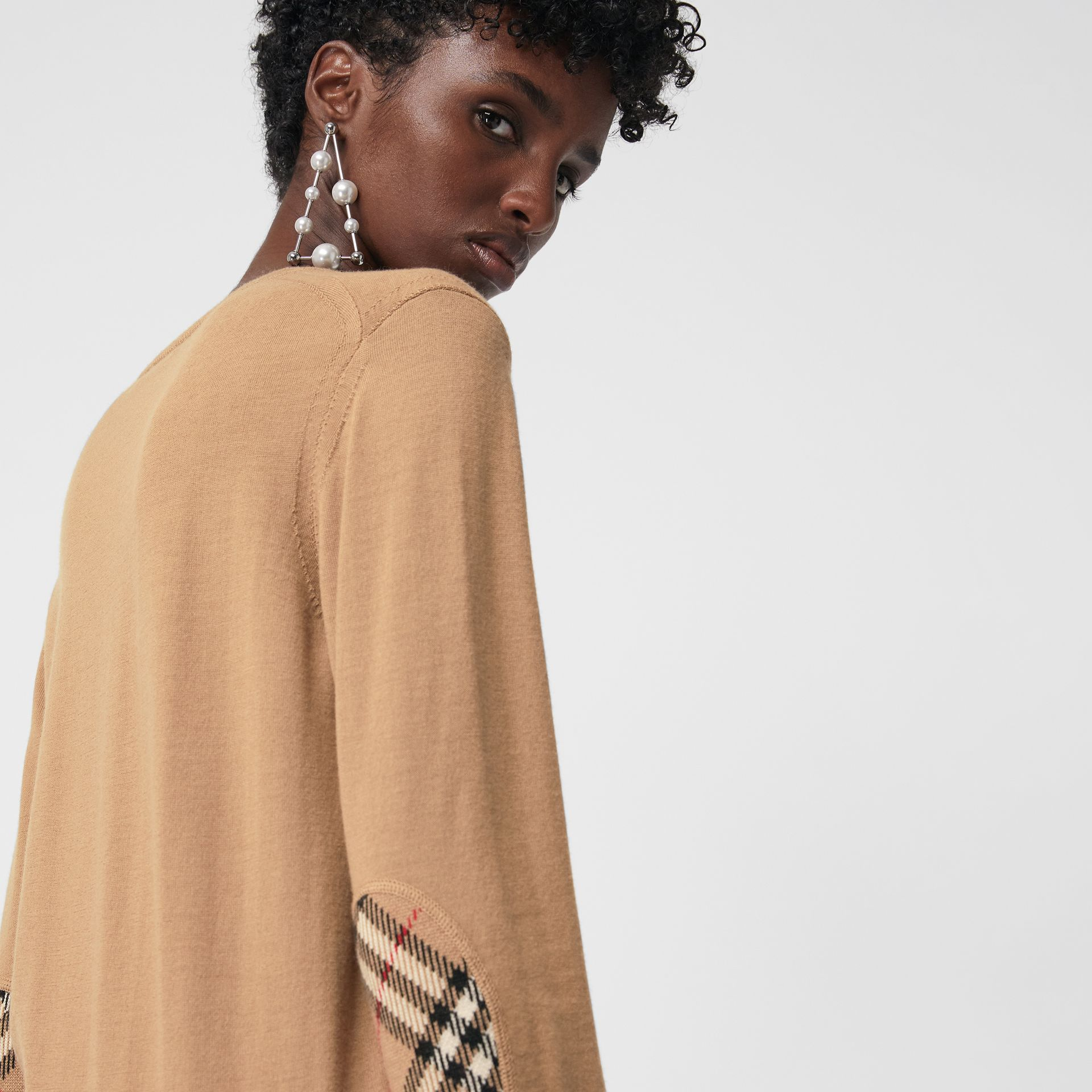 Vintage Check Detail Merino Wool Sweater in Camel - Women | Burberry Australia - gallery image 1