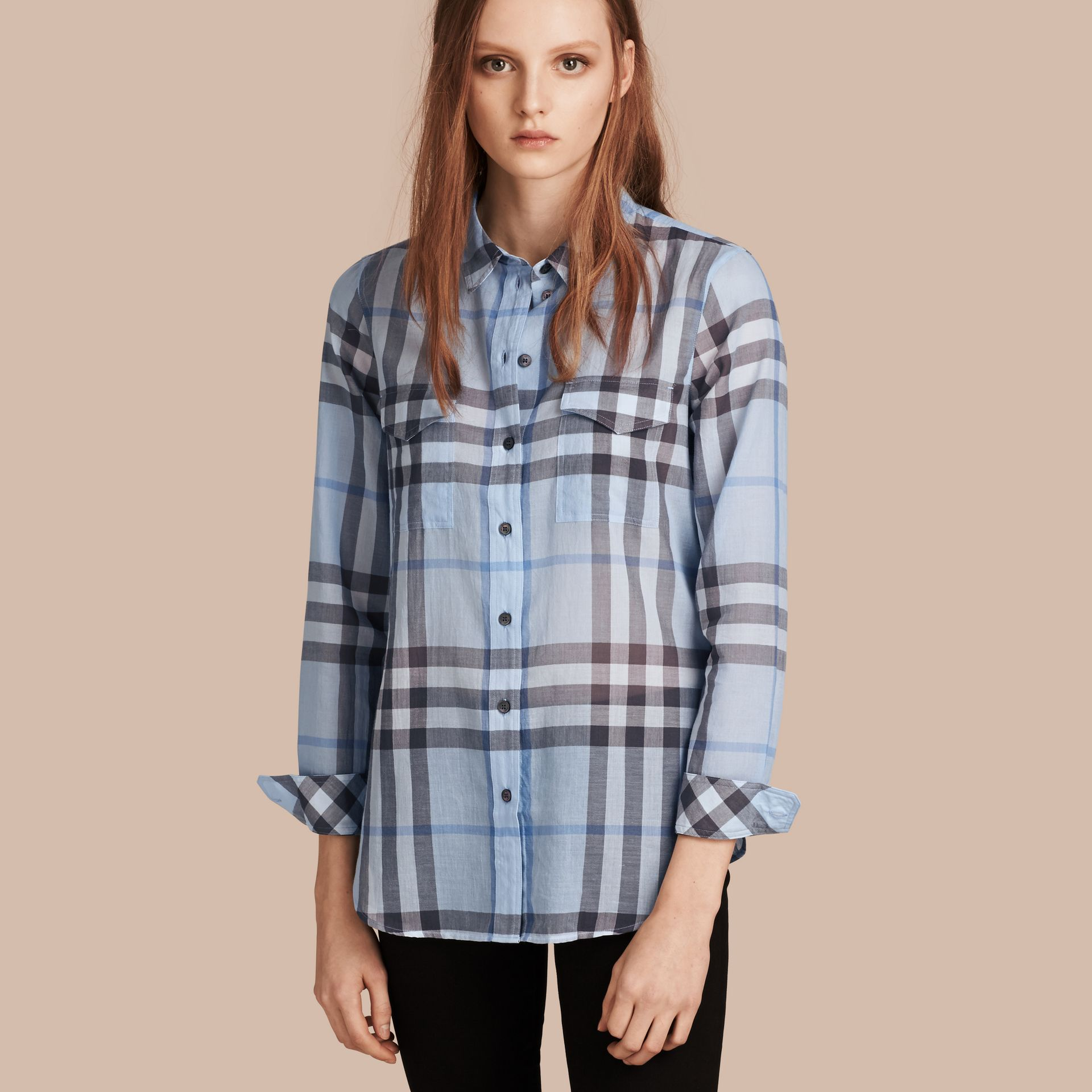 Mineral blue Check Cotton Shirt Mineral Blue - gallery image 1