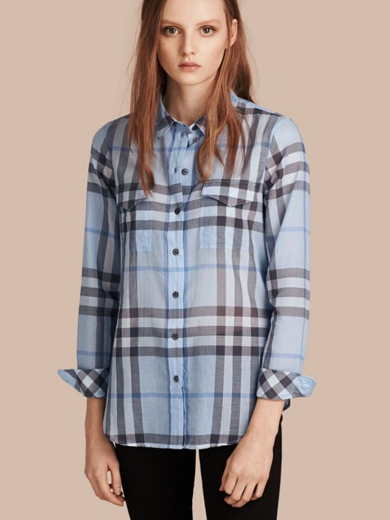 Check Cotton Shirt Mineral Blue