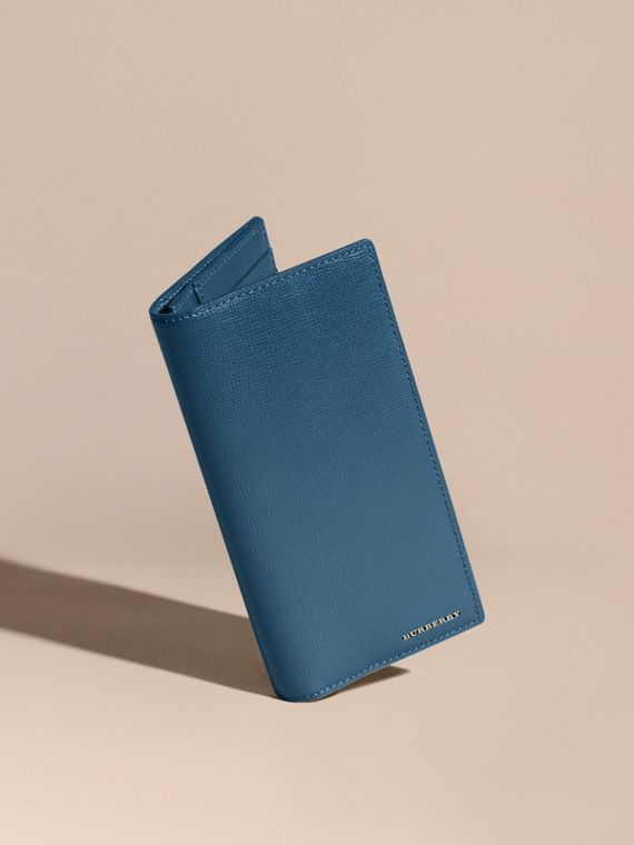 London Leather Continental Wallet in Mineral Blue