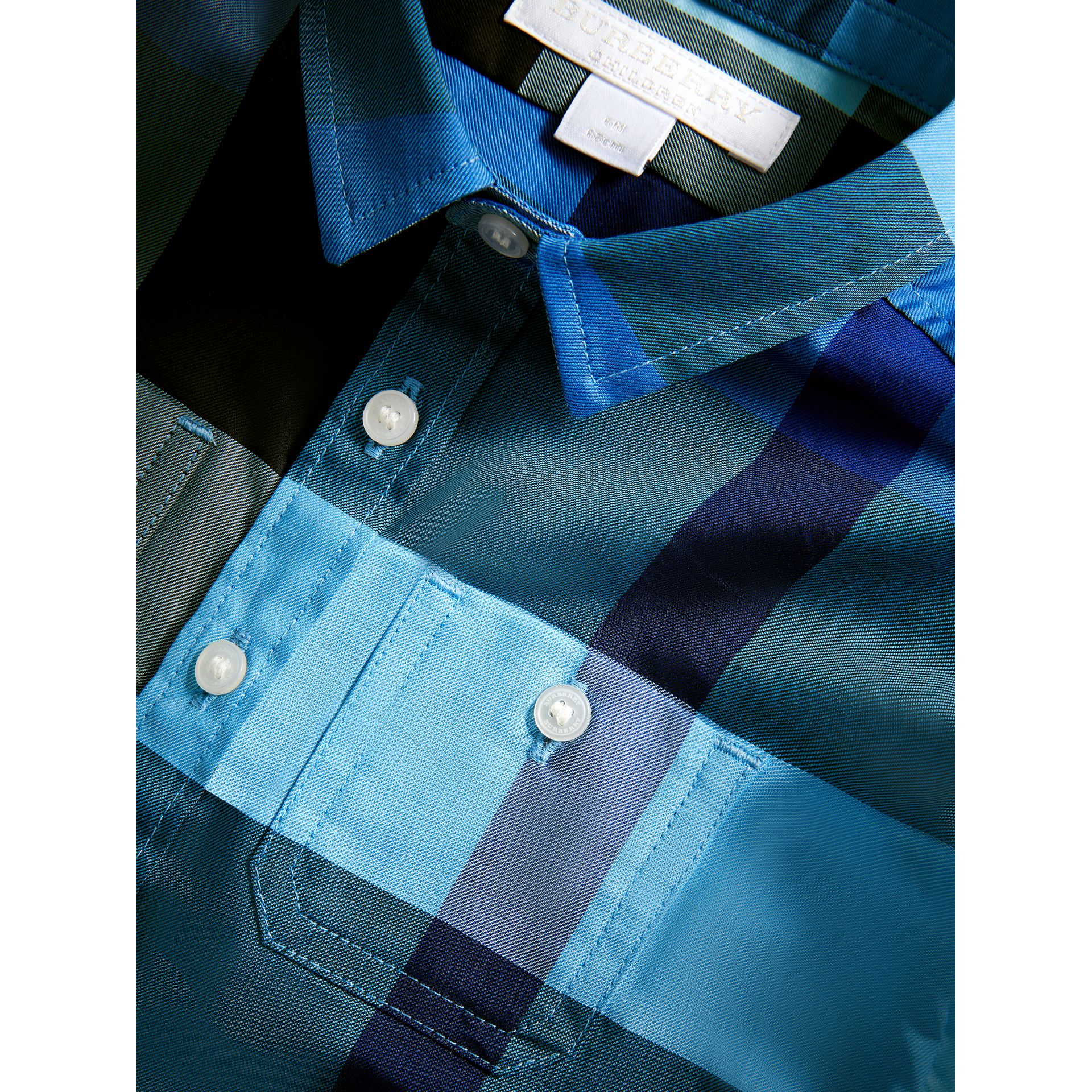 Short-sleeve Check Cotton Shirt in Light Azure | Burberry Hong Kong - gallery image 1