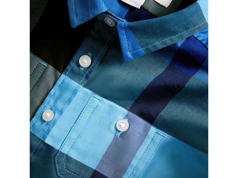 Short-sleeve Check Cotton Shirt in Light Azure | Burberry - cell image 1