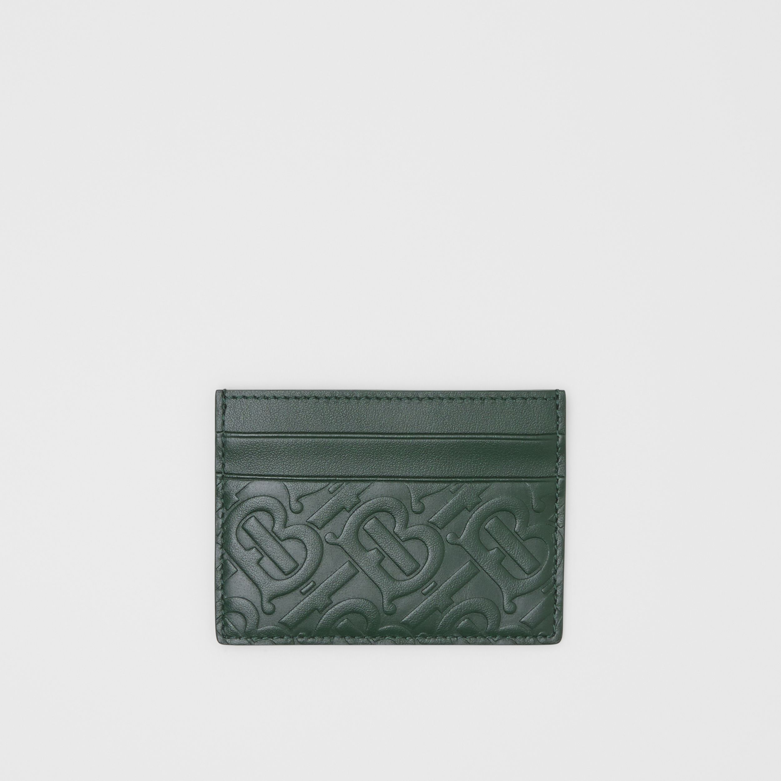 Monogram Leather Card Case in Dark Pine Green - Men | Burberry - 1