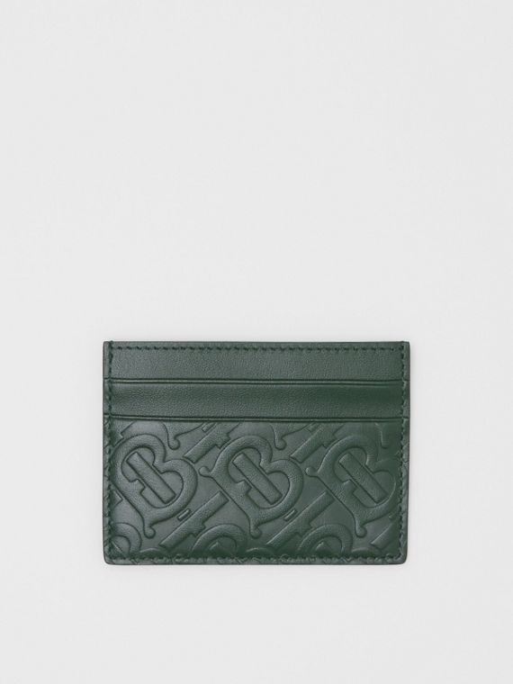 Monogram Leather Card Case in Dark Pine Green
