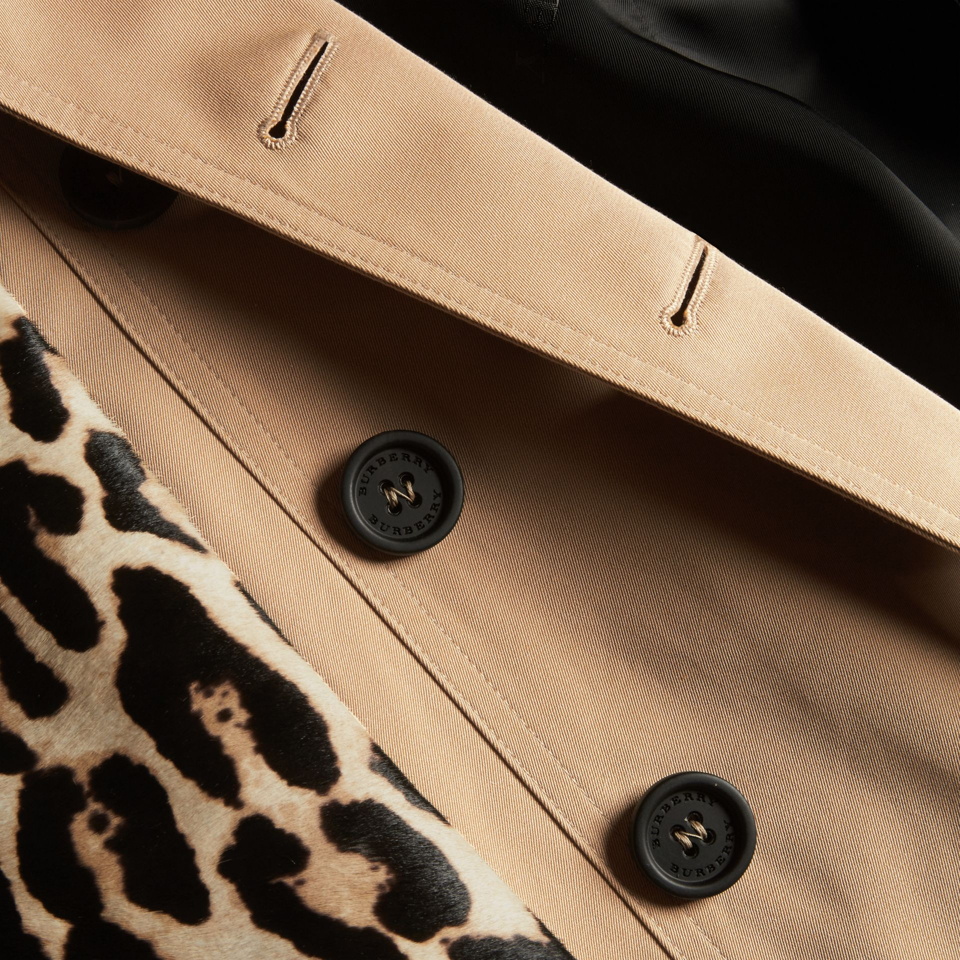 Cotton Gabardine Trench Coat with Leopard-print Sleeves - gallery image 2