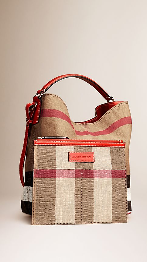 Cadmium red The Medium Ashby in Canvas Check and Leather Cadmium Red - Image 3