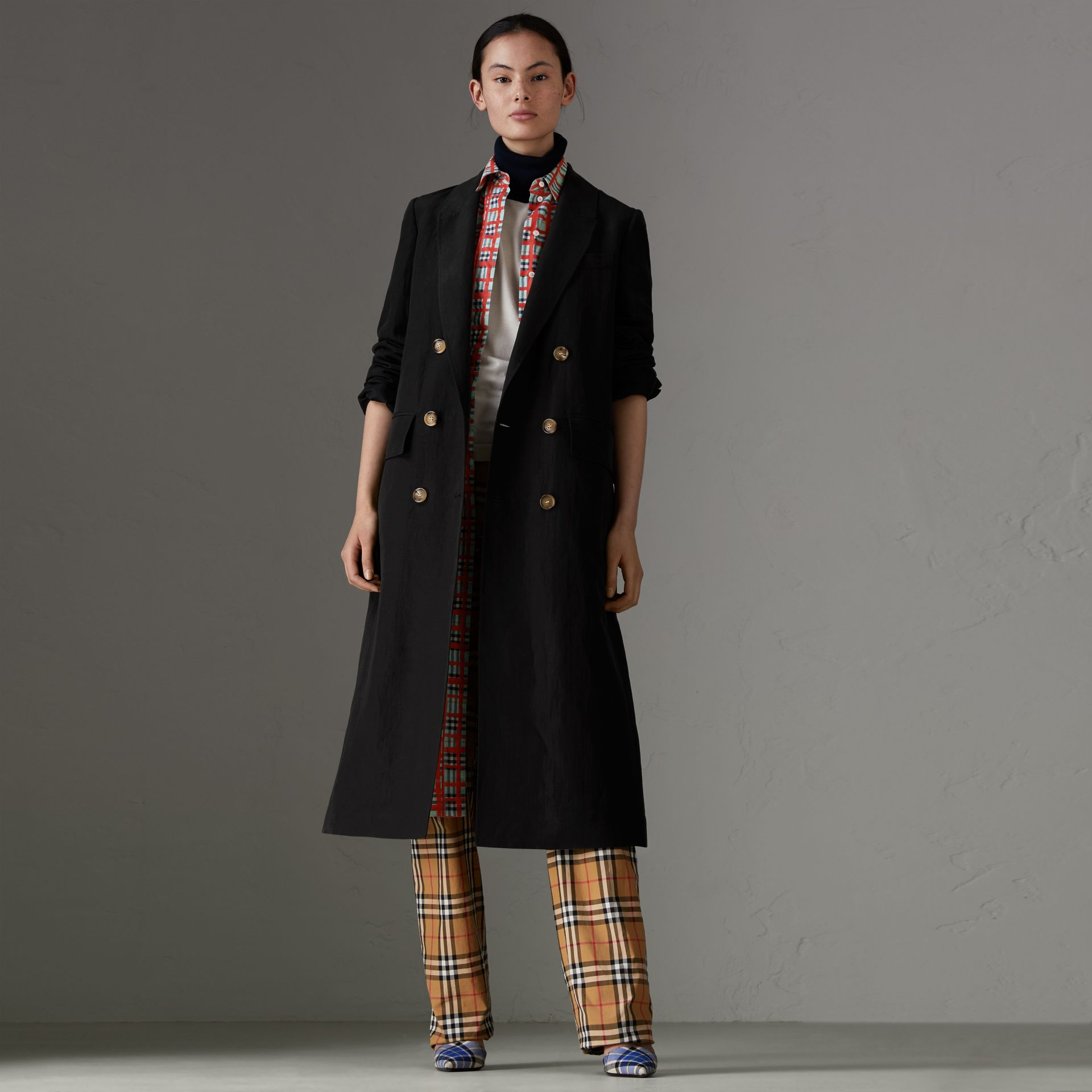 Linen Silk Tailored Coat in Black - Women | Burberry - gallery image 0