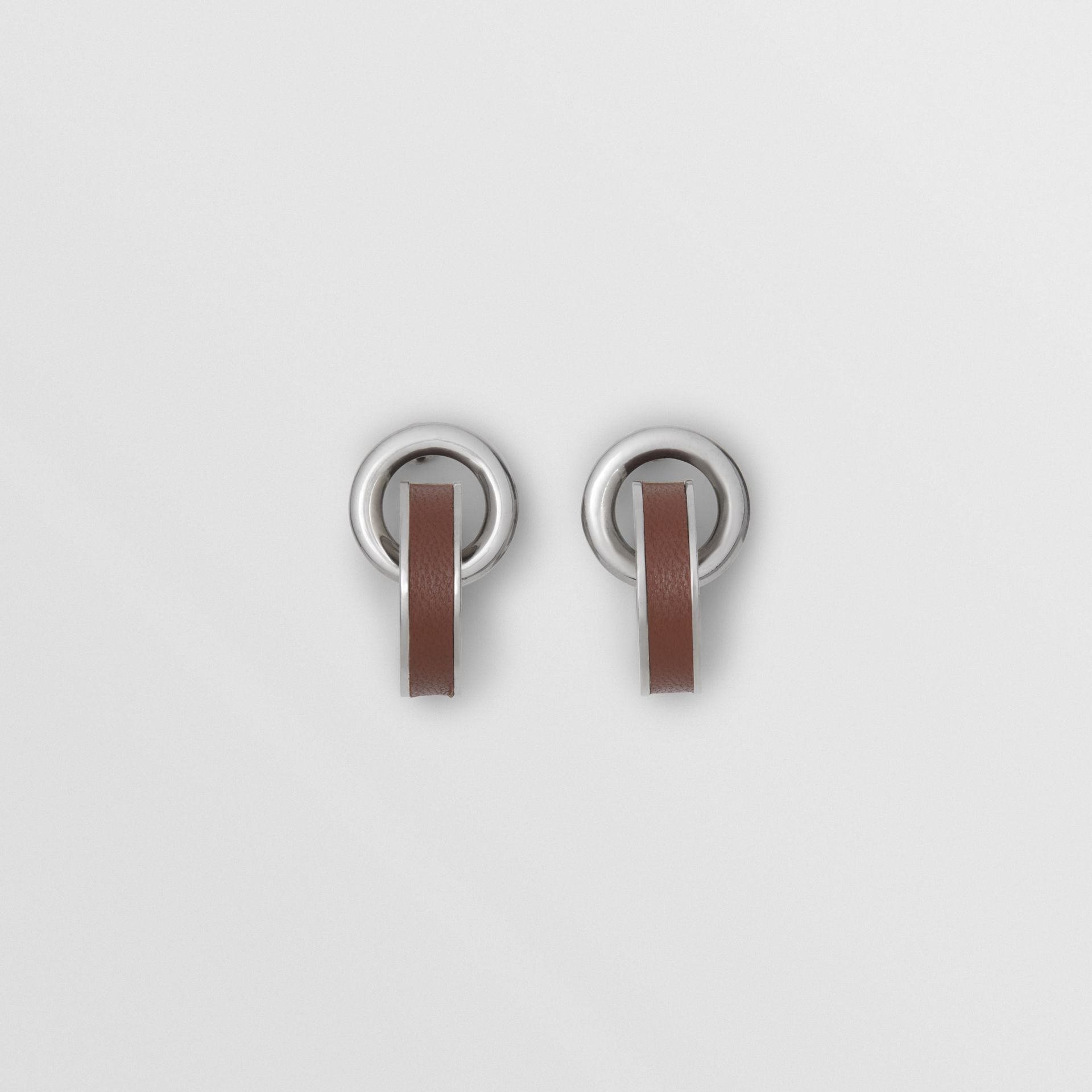 Leather Detail Double Grommet Earrings in Palladio/tan - Women | Burberry - gallery image 0