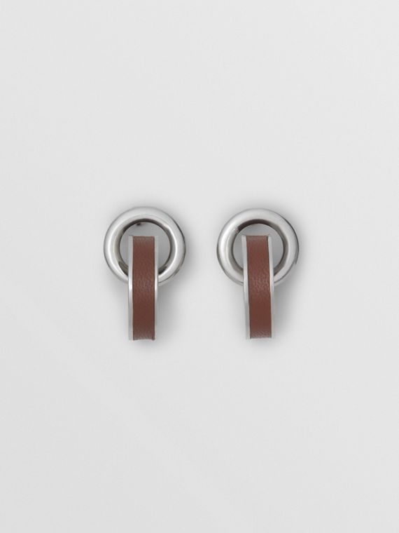 Leather Detail Double Grommet Earrings in Palladio/tan