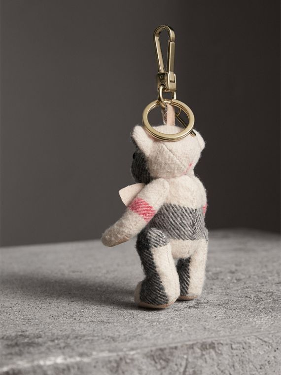 Thomas Bear Charm in Check Cashmere in Stone | Burberry - cell image 3