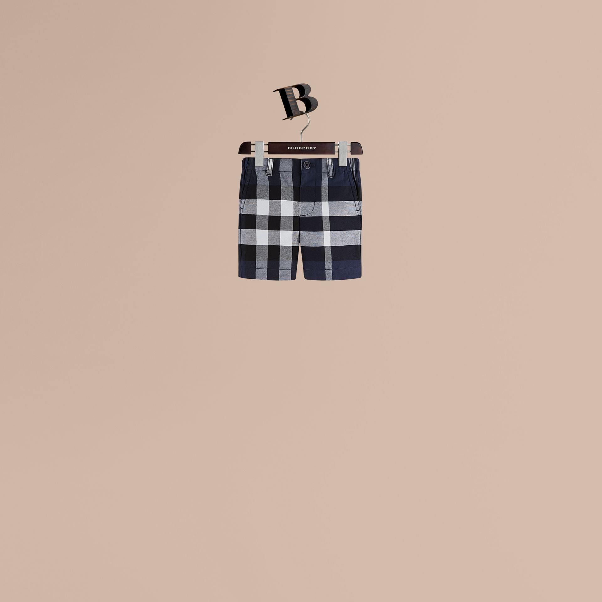 Check Cotton Chino Shorts in Navy - Boy | Burberry United Kingdom - gallery image 1