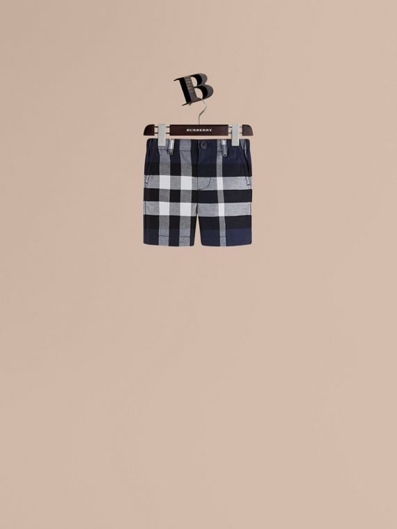 Check Cotton Chino Shorts in Navy