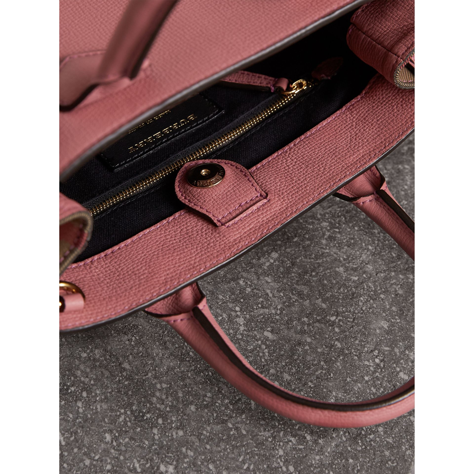The Small Banner in Leather and House Check in Mauve Pink - Women | Burberry - gallery image 5