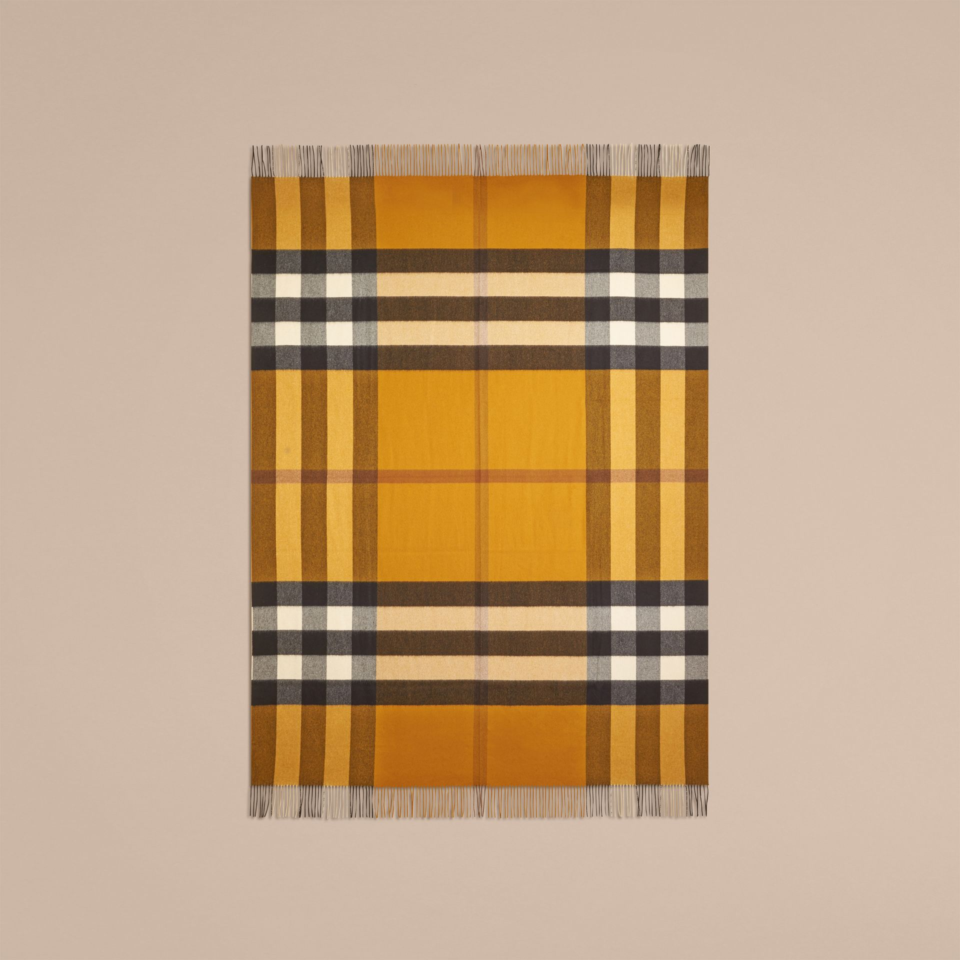 Amber yellow Check Cashmere Blanket Amber Yellow - gallery image 3
