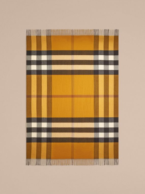 Amber yellow Check Cashmere Blanket Amber Yellow - cell image 2