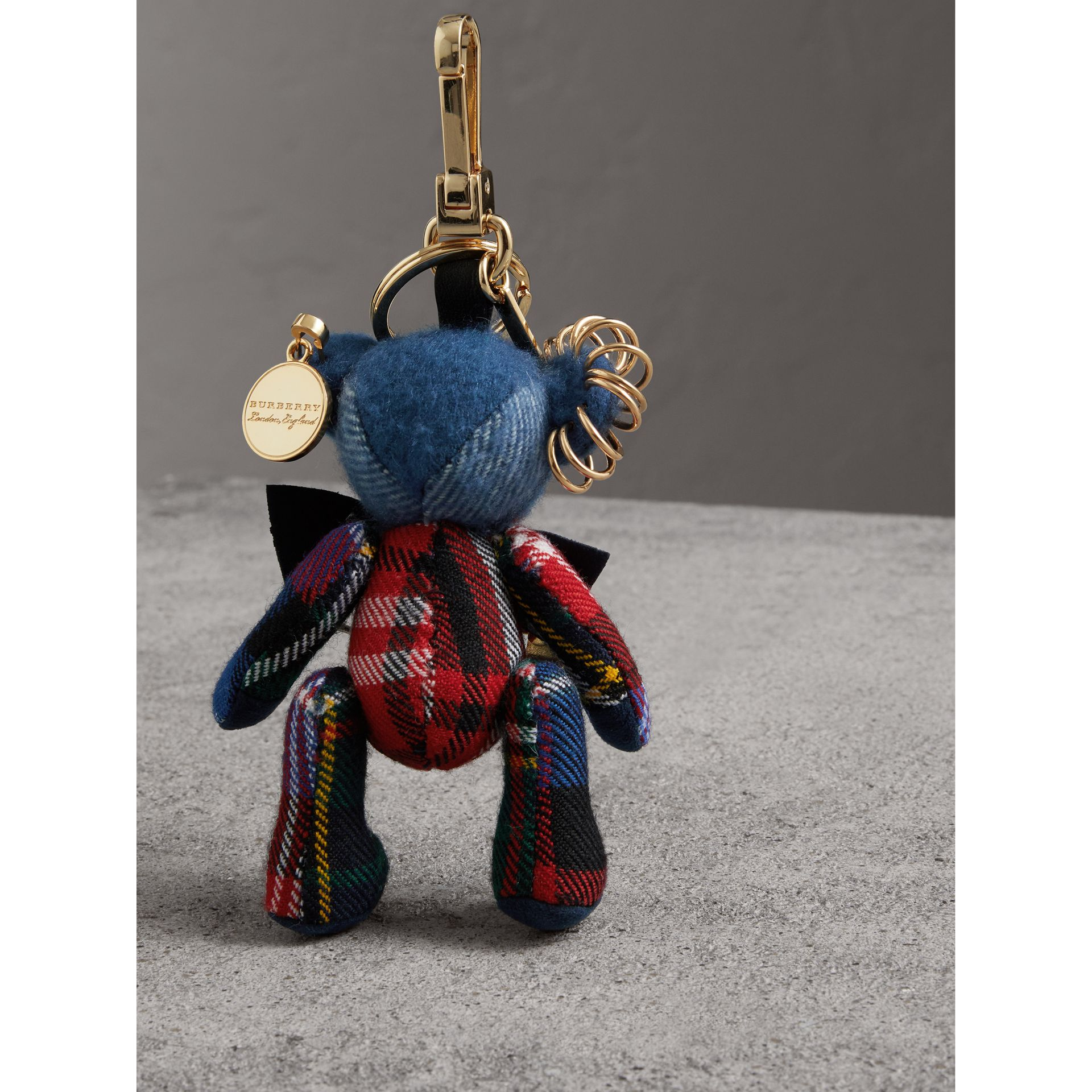 Thomas Bear Charm with Kilt Pin in Cadet Blue | Burberry Australia - gallery image 3