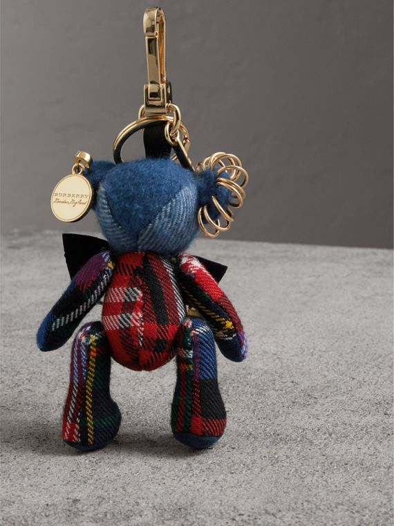 Thomas Bear Charm with Kilt Pin in Cadet Blue | Burberry Australia - cell image 3