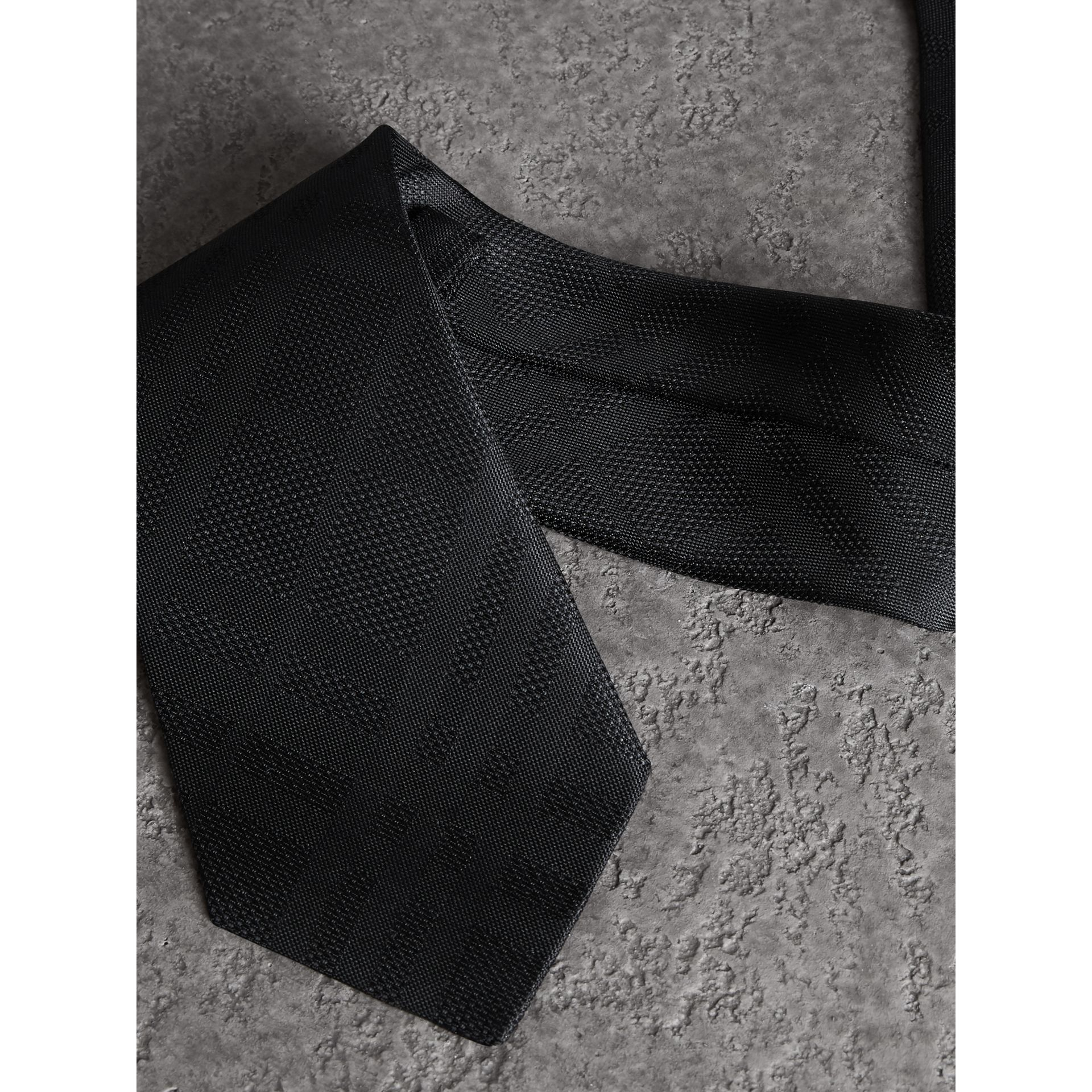 Classic Cut Check Silk Jacquard Tie in Black - Men | Burberry United States - gallery image 1