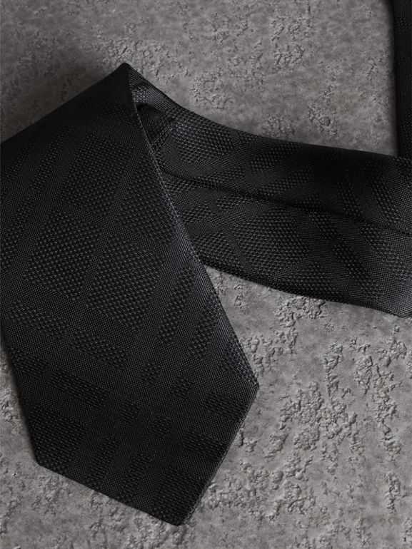 Classic Cut Check Silk Jacquard Tie in Black - Men | Burberry United States - cell image 1