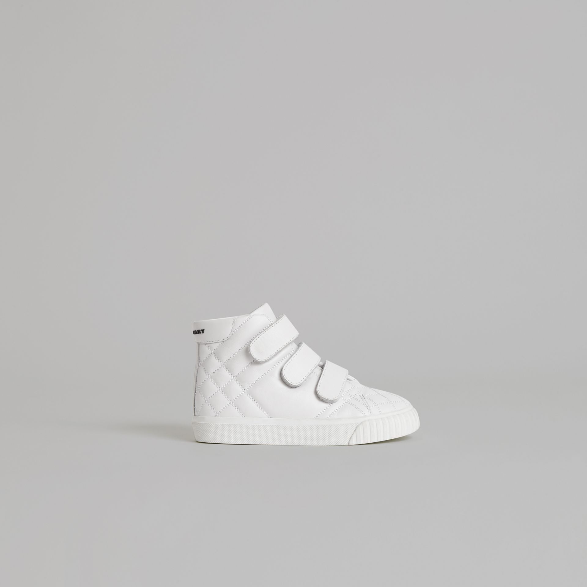 Quilted Leather High-top Sneakers in Optic White | Burberry - gallery image 4