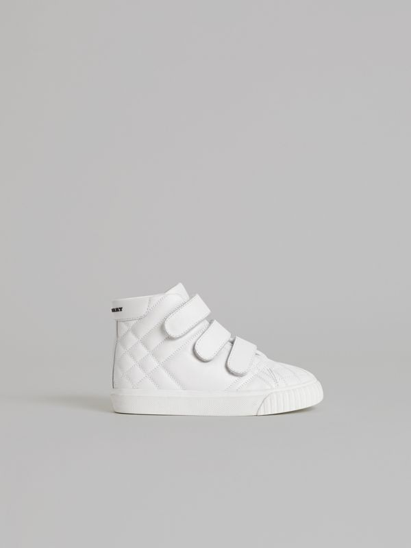 Quilted Leather High-top Sneakers in Optic White | Burberry Hong Kong - cell image 3