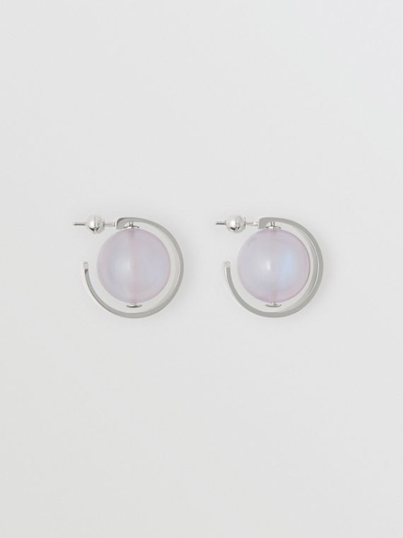 Marbled Resin Palladium-plated Hoop Earrings in Palladio/nacre