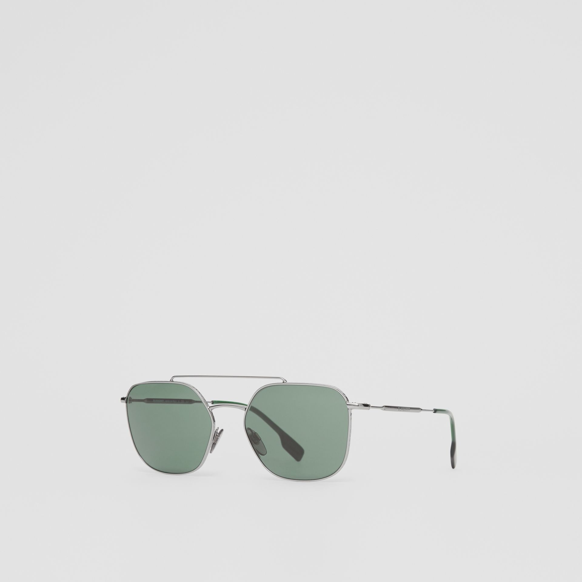 Top Bar Detail Square Pilot Sunglasses in Gunmetal Grey - Men | Burberry United States - gallery image 5