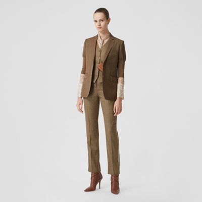 Knitted Sleeve Houndstooth Check Wool Tailored Jacket in Fawn Women | Burberry