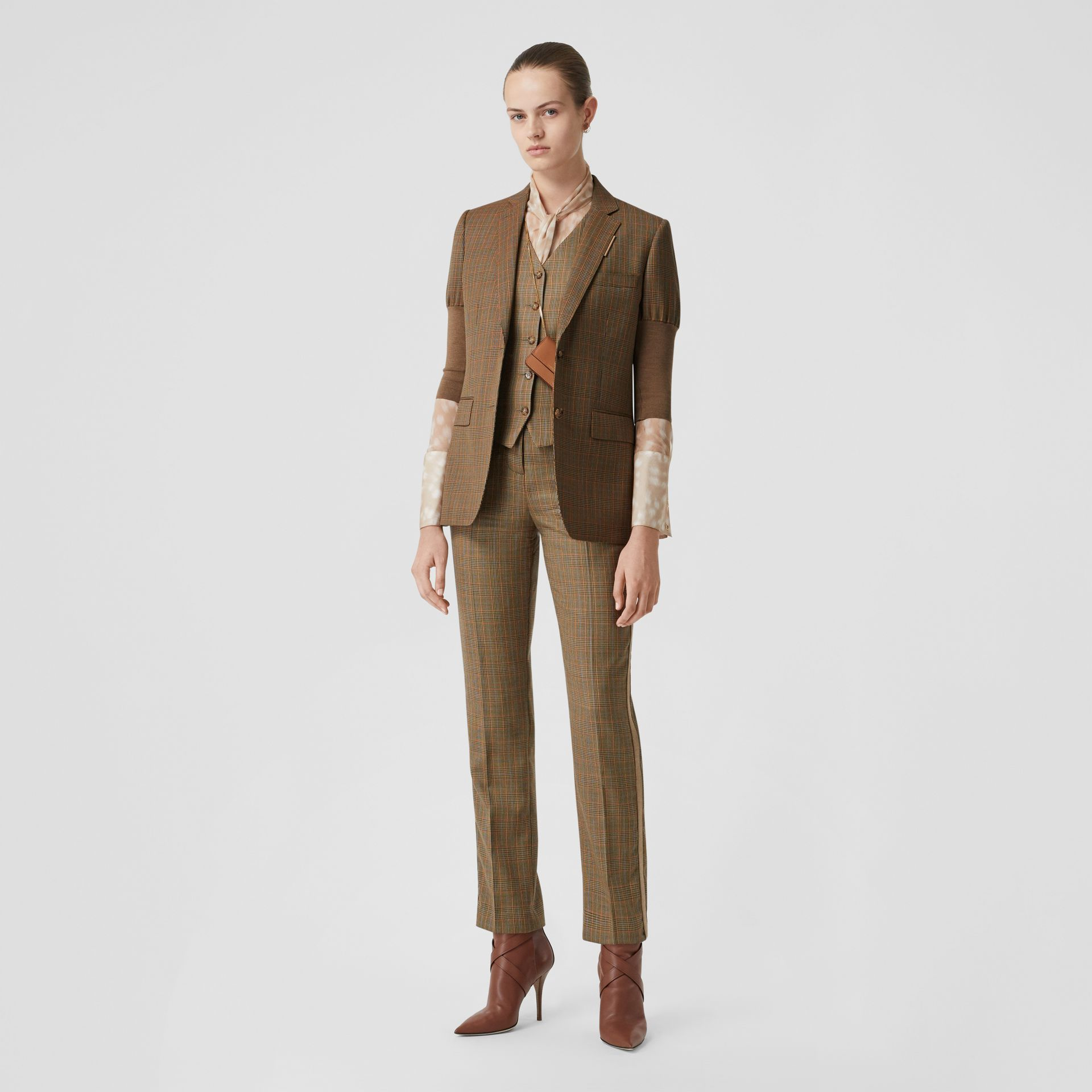 Knitted Sleeve Houndstooth Check Wool Tailored Jacket in Fawn - Women | Burberry Singapore - gallery image 0