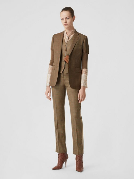 Knitted Sleeve Houndstooth Check Wool Tailored Jacket in Fawn