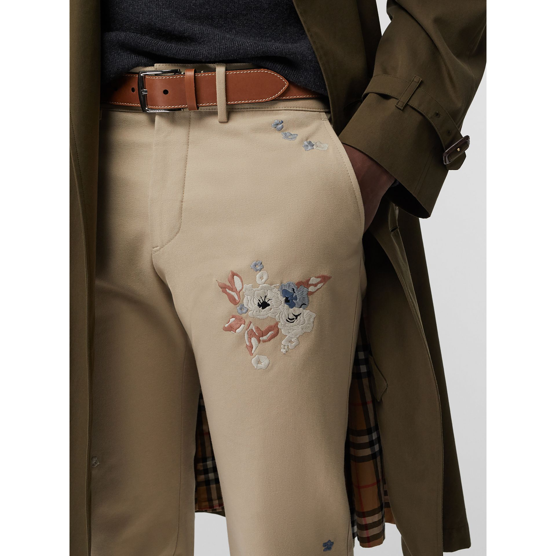 Topstitched Leather Belt in Tan - Men | Burberry United States - gallery image 2